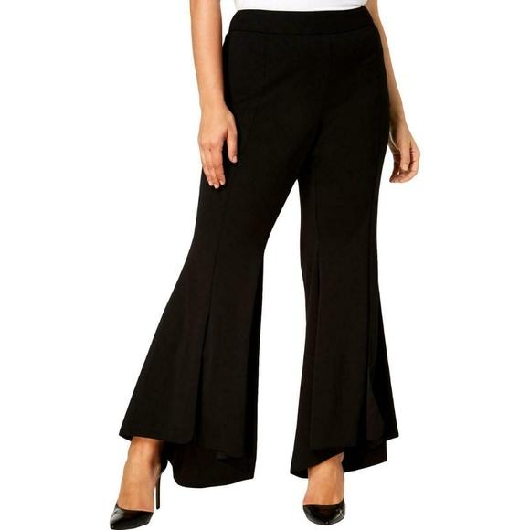 INC International Concepts Pants - INC Women's Black Flare High Low Dress Pants